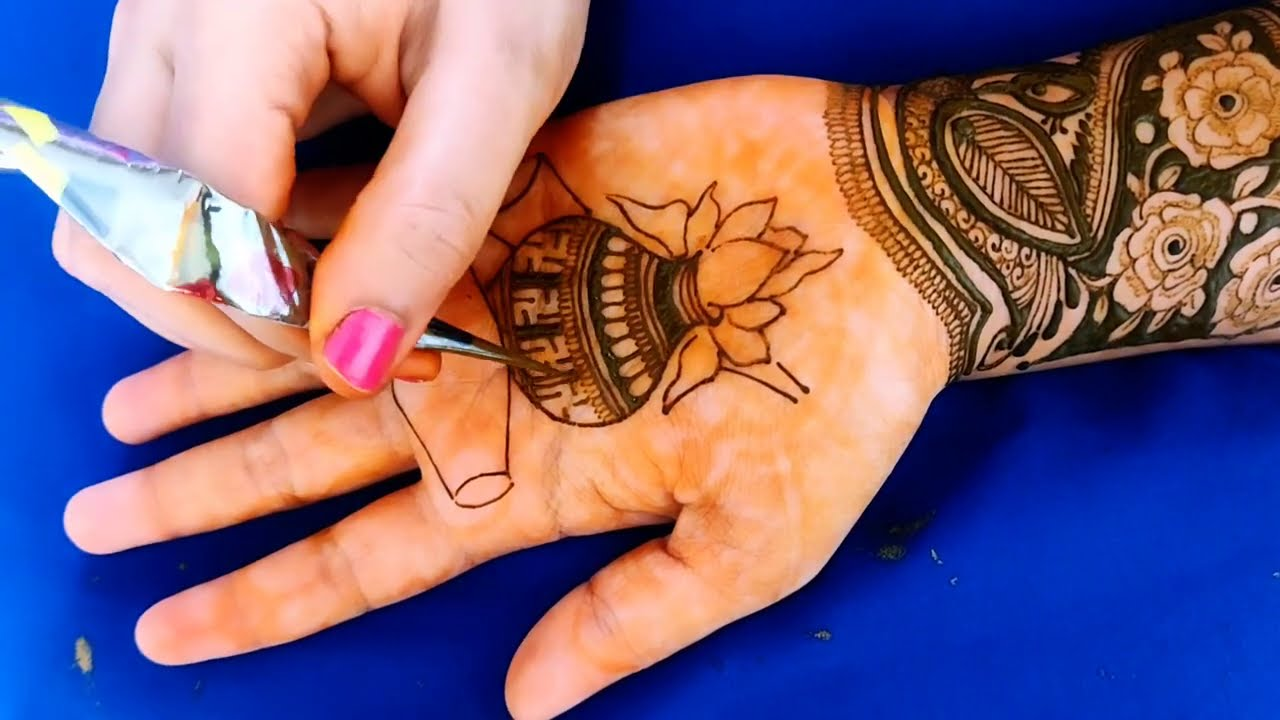 bridal full hand mehndi design peacock dhol kalash elephant by aaru
