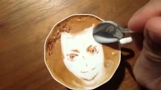 本日の暇カプチーノ、『中島猛@ハイキュー!!』。 ラテアート Latteart