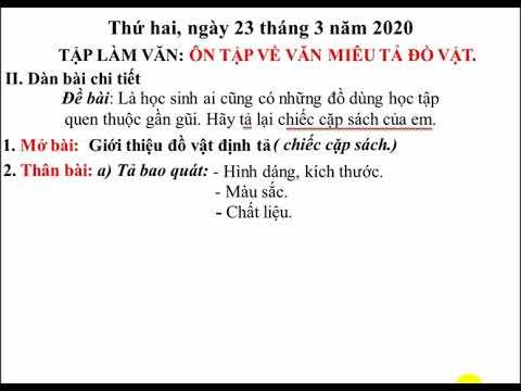 Tiếng Việt 4: Ôn tập làm văn miêu tả đồ vật - GV: Trần Thị Hồng Thương - Trường TH Bách Thuận
