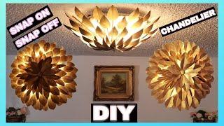 DIY Chandelier Antique Gold Leaf Light Fixture || Pinterest Inspired Ceiling Lamp