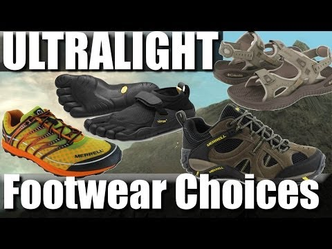 Ultralight backpacking footwear: trail-runners, sandals, vibram five fingers