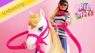 Barbie Pferd und Puppe - Spielzeug Unboxing und Demonstration Deutsch