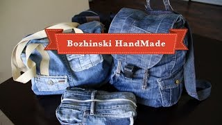 Handmade Denim Bags, Cosmetic Purse And Pockets From Old Jeans New Technique