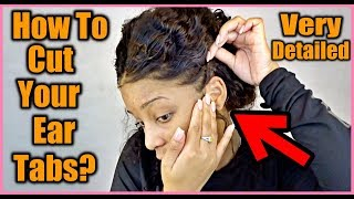 SUPER Easy Way To Cut Ear Tabs On A Lace Wig!! | Ft. Eayon WaterWave Wig!