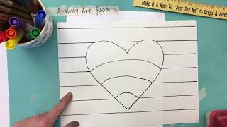 3rd & 4th Grade Op Art Heart (Part One: Drawing)