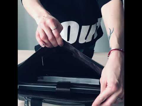 Мужская кожаная сумка JASPER&MAINE черного цвета Video #1