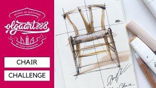 ✏️How To Draw Hans Wegners Wishbone Chair. Tutorial