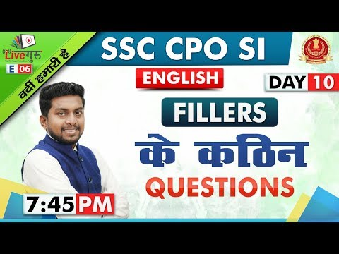 Fillers | English | SSC CPO SI 2019 | 7:45 pm