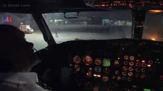 Cockpit Video - Boeing 737-200 Night Departure Mexico City Airport.