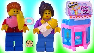 Baby At Babies Store ! LEGO + Shopkins  Toy Play Video - Cookie Swirl C