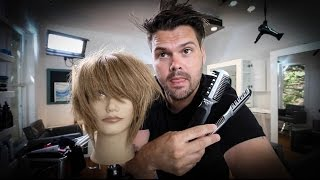 Short Layered Bob Haircut Tutorial With A Razor - Haircutting Tricks W/ A Razor | MATT BECK VLOG 54