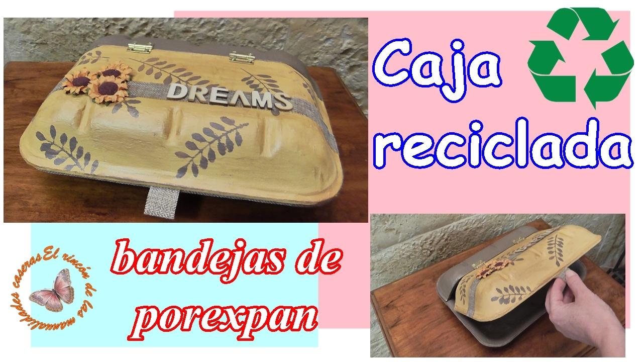 Cómo hacer una caja con tapa reciclando bandejas de corcho o porexpan de alimentos ♻