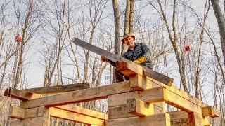 Dach z drewnianą ramą do warsztatu mojej chaty z bali