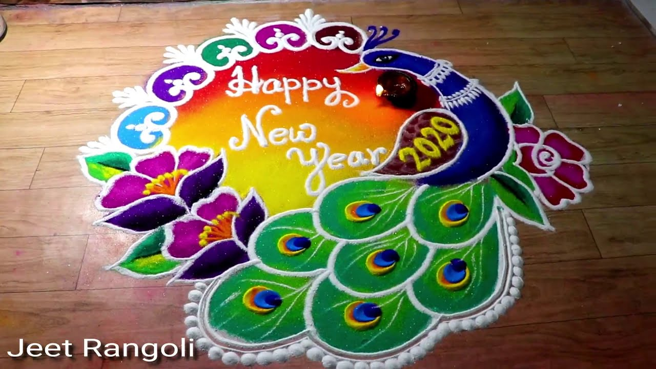 rangoli design for new year easy and colorful by jeet