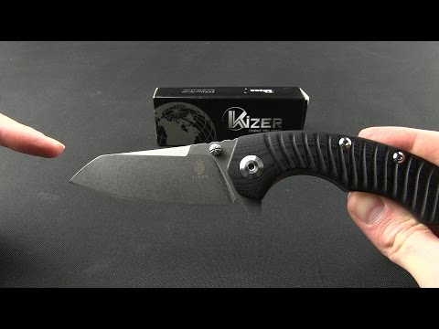 "Kizer Tigon Liner Lock Knife Blue/Black G-10 (3.625"" Stonewash) Ki4450A3"