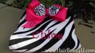Hot Pink Zebra Bow and Zebra Print Beach Towel Set - video demo