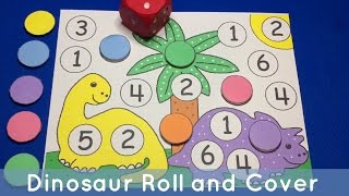 Dinosaur Roll And Cover Preschool And Kindergarten Math Center