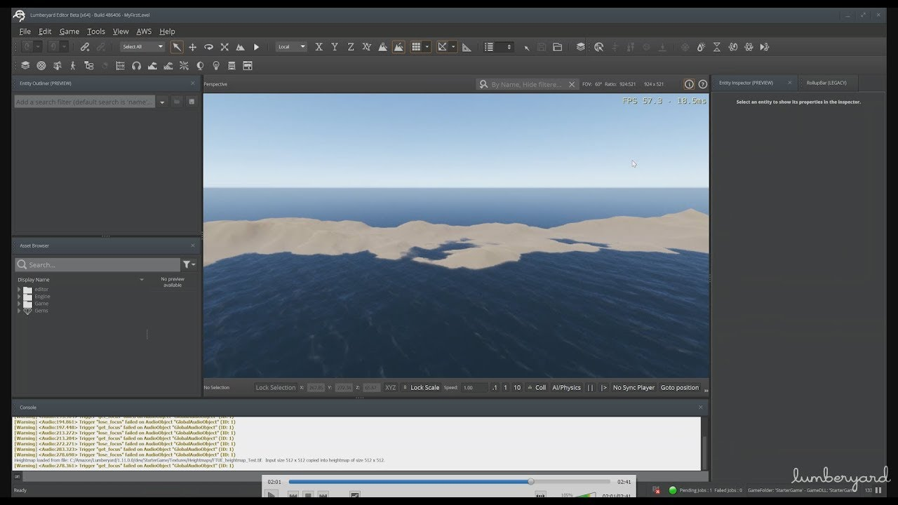 Lumberyard - GSG 006 - Terrain Creation - Adding a heightmap