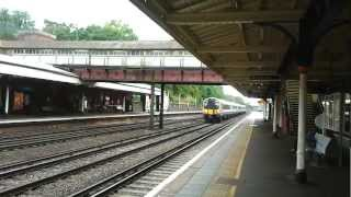 preview picture of video 'South West Trains 444012 fast through Weybridge, Surrey on the way to London Waterloo'