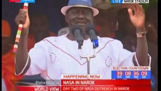Raila Odinda addresses  the residents of Narok