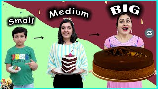 SMALL MEDIUM BIG CHALLENGE | Funny family eating challenge | Aayu and Pihu Show