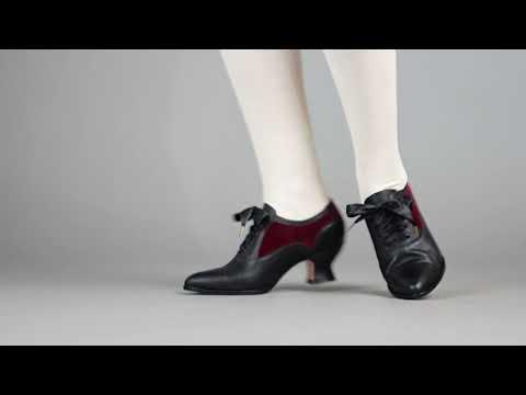 PRE-ORDER Lucille Women's Edwardian Oxfords (Black/Burgundy)