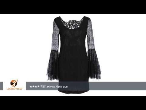 Schwarzes Kleid mit Trompetenärmeln aus Spitze mit Spinnen Muster und Totenkopf Verzierung  