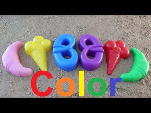 learn colors with kids fun games with sand molds/куличики из песка