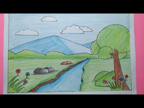 Cara Menggambar Pemandangan Rumah Dan Sungai Mari Belajar