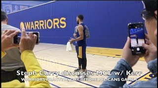 Steph Curry (MCL rehab) discusses his status for Game 1 with Steve Kerr then Jonnie West