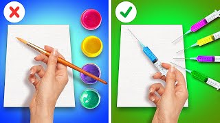 THESE 29 PAINTING TECHNIQUES EVERYONE CAN DO! Drawing Hacks and Tricks🎨