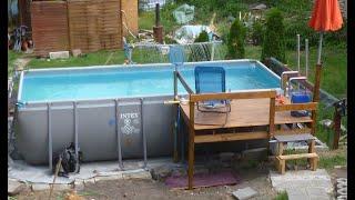 Neuer Swimmingpool - Fundament , Rohrkonservierung, Badeplattform und Edelstahl Leiter