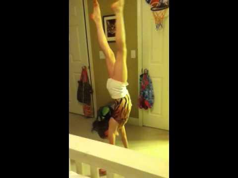 11 year old Hayley Kirk doing gymnastics in her room! :)$