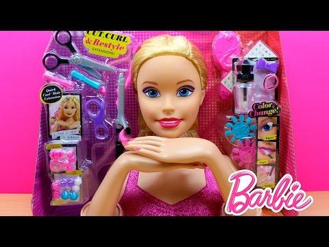 Súper Busto de Barbie   Muñeca Barbie para peinar maquillar y hacer manicura   Juguetes de Barbie