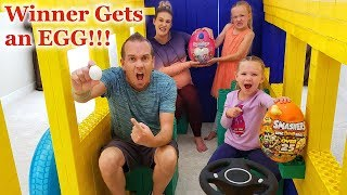 LAST to LEAVE Giant LEGO FORT School BUS WINS an EGG!?!?!?