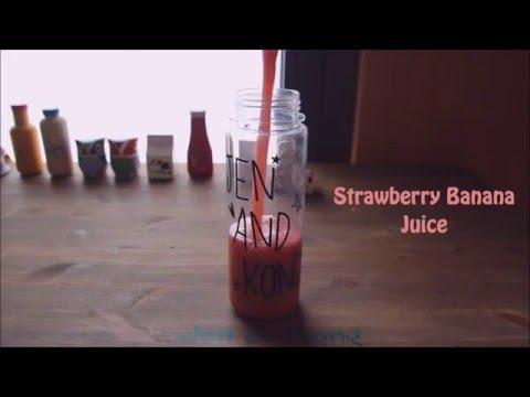 Video Fresh Juice recipe :: Strawberry Banana juice, healthy juice, 딸기바나나주스
