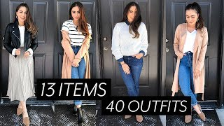 40 OUTFITS FROM 13 ITEMS // TRAVEL CAPSULE WARDROBE ♡