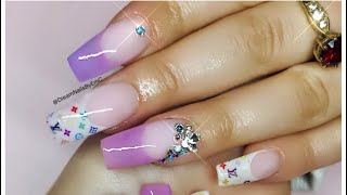 HOW TO: Acrylic Nails   Louis Vuitton Nail Design   French Acrylic Nails