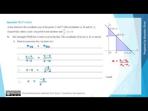 VCAA Mathematical Methods 2014 Exam 1 - Question 10 - YouTube