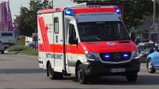 preview picture of video 'Neuer RTW 2/83-3 + Reserve RTW 2/83-5 DRK Bruchsal auf Alarmfahrt'