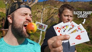 NINJA CARD THROWING TRICK SHOT BATTLE! Ft. Rick Smith Jr.