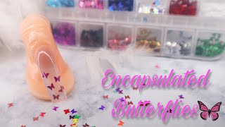 ENCAPSULATED BUTTERFLIES W/ CLEAR TIP | ACRYLIC NAIL TUTORIAL