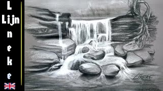 Easy WATERFALL For Beginners Charcoal Drawing