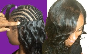 How To Secret For Full Weave Sew In W/FLAT Invisible Wefts - No Glue