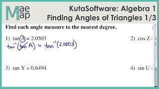 KutaSoftware: Algebra 1- Using Trigonometry To Find Angle Measure Part 1