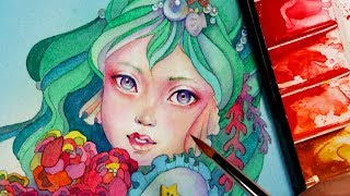 Speed Coloring Face With Watercolor Paintings Book Art - 透明水彩