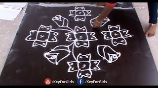 Simple Flower Rangoli Designs With Dots Step By Step | Flower Muggulu | Key For Girls