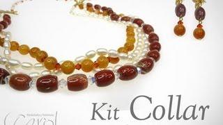 Como hacer un collar con piedras y perlas KIT 3883