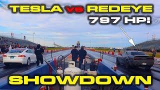 797HP HELLCAT REDEYE GOES TO SCHOOL * Tesla Model S vs Dodge Hellcat RedEye Drag Racing
