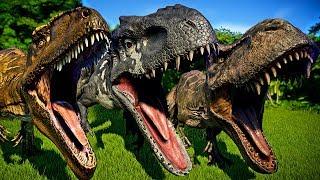 🌍 Jurassic World Evolution - Tyrannosaurus Rex Vs Indominus Rex Vs Giganotosaurus Dinosaurs Battle